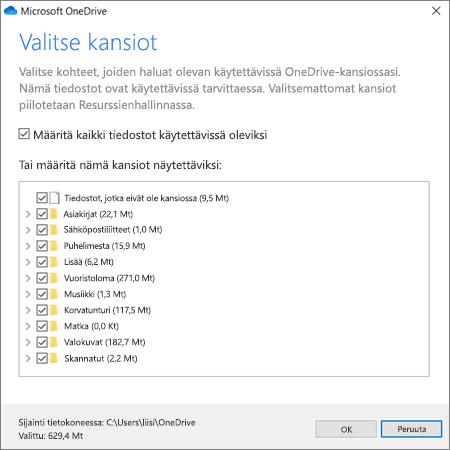 Tiedostojen synkronointi OneDrivesta