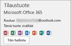 Näyttää Officeen liittyvän sähköpostitiliin