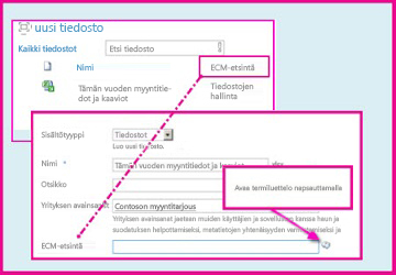 Hallitut metatiedot -sarakkeen avulla käyttäjät voivat valita ennalta määritettyjä arvoja ja kirjoittaa ne sarakkeeseen tiedoston ominaisuuksia käyttämällä.