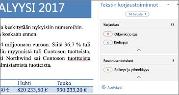 Muokkausruudussa näkyvät korjattavat tekstintarkistusongelmat avoimessa Word-asiakirjassa