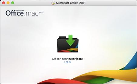 Näyttökuva Office for Mac 2011:n Office-asennusohjelmasta