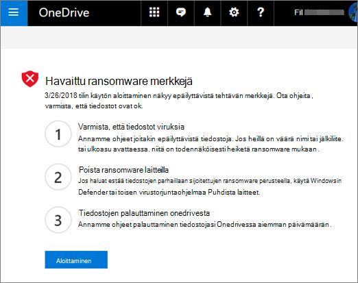 Näyttö kuva OneDrive-sivustossa havaituista kiristys ohjelmien merkeistä