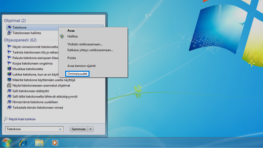 Windows 7 -käyttöjärjestelmän ohjauspaneeli.