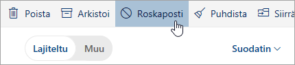 Näyttökuva Roskaposti-painikkeesta