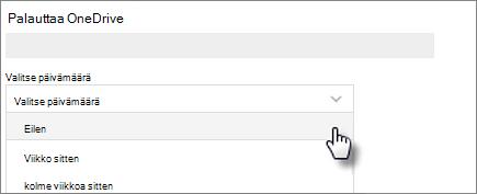 Näyttökuvassa päivämäärän valitsemisesta Palauta OneDrive -ikkunassa