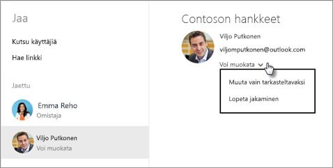 Jaettujen käyttöoikeuksien muokkaaminen OneDrivessa