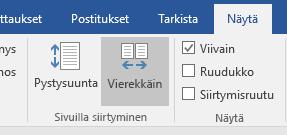 Word 2016:n Vierekkäin-näkymä