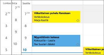 Kalenteri, jossa on kolme aikavyöhykettä vasemmalla puolella ja kokoukset oikealla puolella