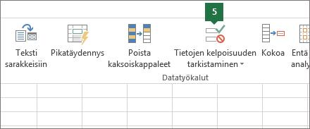 Tarkista tietojen kelpoisuus valitsemalla Tiedot > Tietojen kelpoisuuden tarkistaminen Excelissä