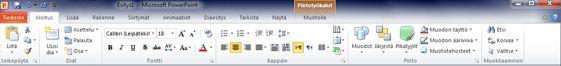 PowerPoint 2010:n Aloitus-välilehti