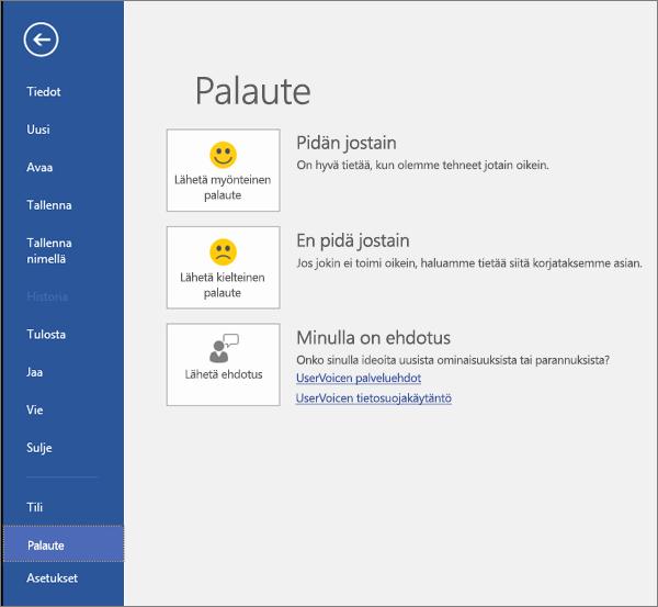 Valitse Tiedosto > Palaute, jos sinulla on Microsoft Visiota koskevia kommentteja tai ehdotuksia