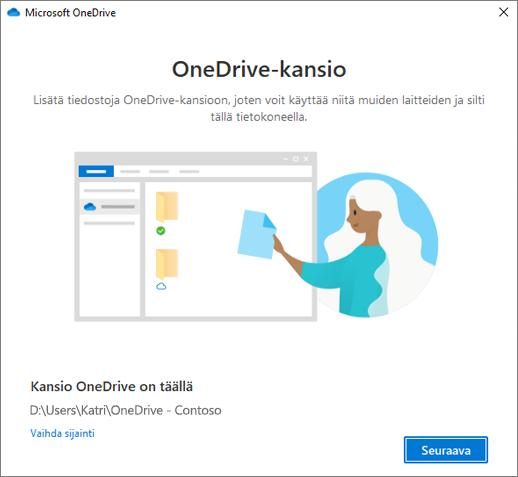 Tämä on OneDrive-kansiosi -näyttö ohjatussa Tervetuloa OneDriveen -toiminnossa