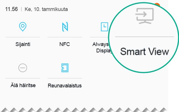 Etsi Smart View pika-asetuksissa ja avaa se napauttamalla