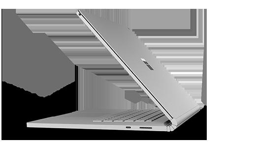 Sivukuvanäkymä avoimesta Surface Book 2 Herosta.