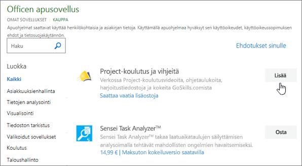 Näyttökuva säilö, jossa voit valita tai etsi apuohjelma projektin Office-apuohjelmat-sivu.