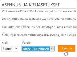 Näyttökuva, jossa näkyvät kieli- ja versioasetukset ja Asenna-painike