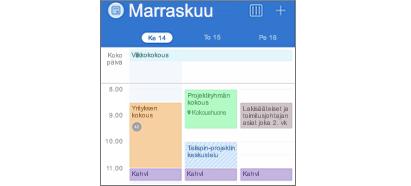 Outlookin kalenteri, jossa on värikoodattuja tapahtumia