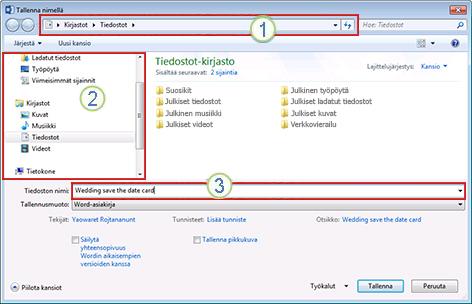 Windows Vistan ja Windows 7:n Tallenna nimellä -valintaikkuna