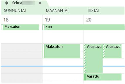 Miltä kalenteri näyttää henkilölle, jolle jaoit sen.
