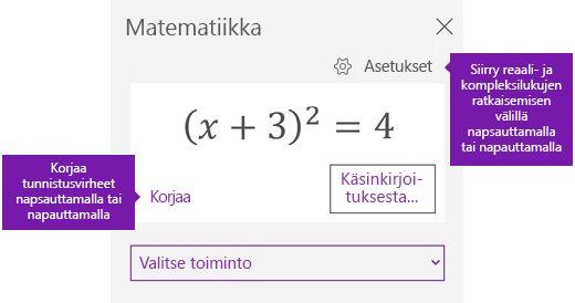 Kaavan matemaattiset-tehtäväruudussa