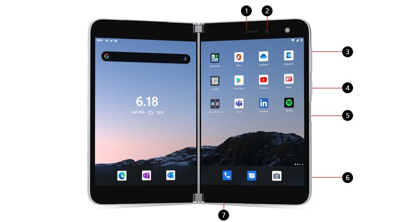 Surface Duo, jossa kuva tekstit painikkeille ja portteihin
