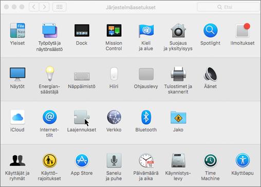 Näyttökuva Macin järjestelmäasetuksista