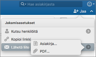Valitse lähetettävän asiakirjan muoto: Word-asiakirja tai PDF.