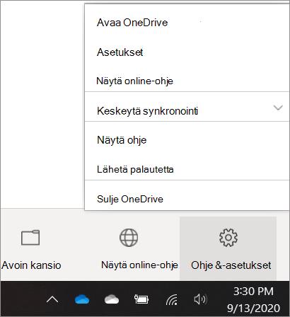 Näyttökuva OneDrive-asetuksiin siirtymisestä