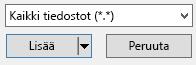 Lisää video-valinta ikkunan tiedosto tyypin suodattimessa on kaikki tiedostot-vaihto ehto.