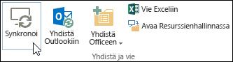 Valintanauhan Kirjasto-välilehden Synkronointi-asetus