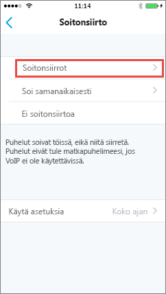 Skype for Business for iOS:n Soitonsiirto-näyttö