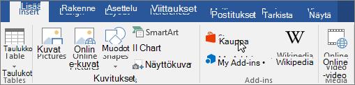 Näyttökuva osasta, jossa säilö osoitin Word-valintanauhan Lisää-välilehdessä. Valitse Office-kauppa ja Etsi Word-apuohjelmien säilö.