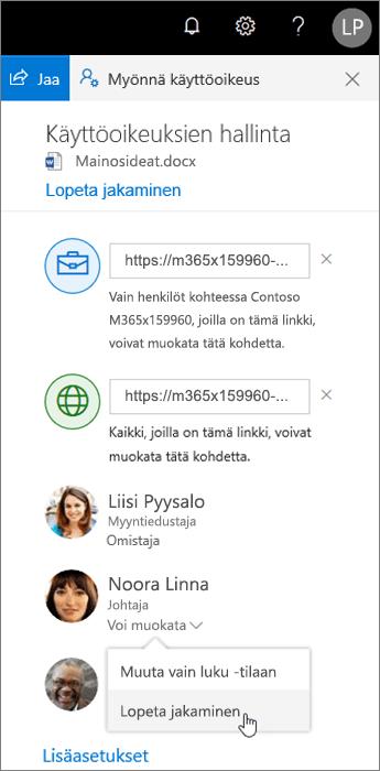 Jakamisasetusten muuttaminen ja jakamisen lopettaminen OneDrivessa