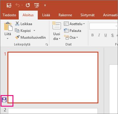 Näyttää kuvakkeen, joka ilmoittaa, että toinen henkilö yhteiskäyttää diaa PowerPoint 2016:ssa