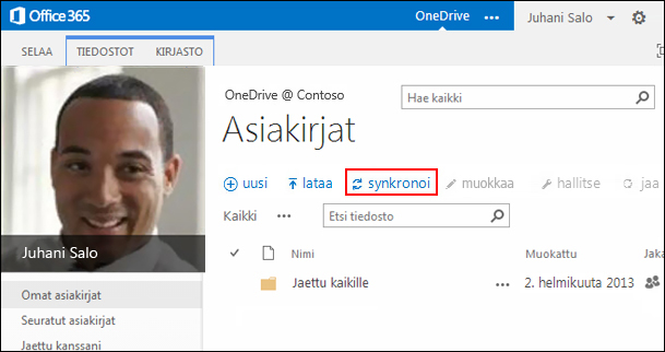 Office 365:n OneDrive For Business -kirjasto