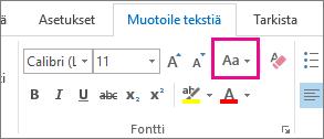 Muuta kirjainkokoa -painike Muotoile tekstiä -välilehdessä
