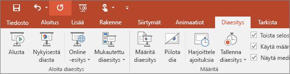 Näyttää Diaesitys-välilehden PowerPointin valintanauhassa