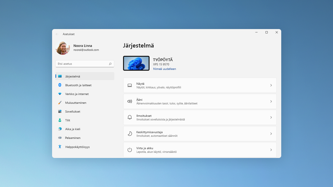 Windows 11:n Asetukset-sovelluksen Järjestelmä-sivu