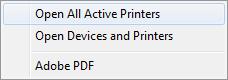 Valitse Avaa kaikki aktiiviset tulostimet