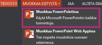 Muokkaa PowerPointissa -komento