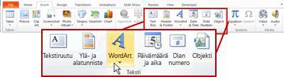 Lisää-välilehti PowerPoint 2010:ssä, Lisää WordArt-painike korostettuna.
