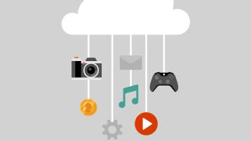 Pilvikuvake, josta roikkuu multimediakuvakkeita.