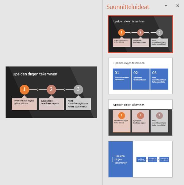 Suunnittelutyökalu ehdottaa erilaisia tapoja, jolla, teksti voidaan muuttaa helposti luettavissa olevaksi SmartArtiksi.