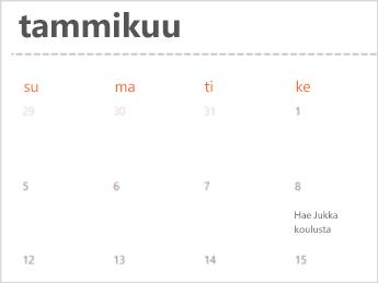 Excel Onlinen kalenterimalli