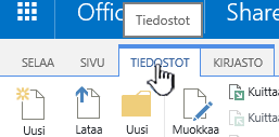 Valintanauhan tiedostot-välilehti