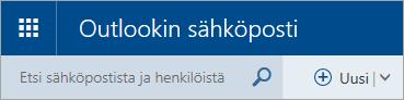 Näyttökuva perinteisen Outlook.comin postilaatikon vasemmasta yläkulmasta