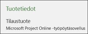 Project Online -työpöytäsovelluksen projektitiedot