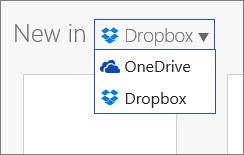 Dropbox lisättynä sijainteihin, joihin voi luoda uusia tiedostoja Office Onlinessa