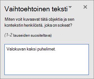 Esimerkki huonosta vaihtoehto tekstistä Windowsin Word-ohjelmassa.