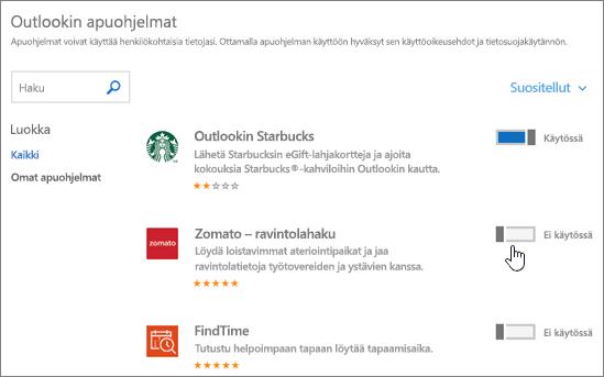 Näyttökuva Outlookin apuohjelmat -sivusta, jolla näet asennetut apuohjelmat ja voit etsiä ja valita lisää apuohjelmia.
